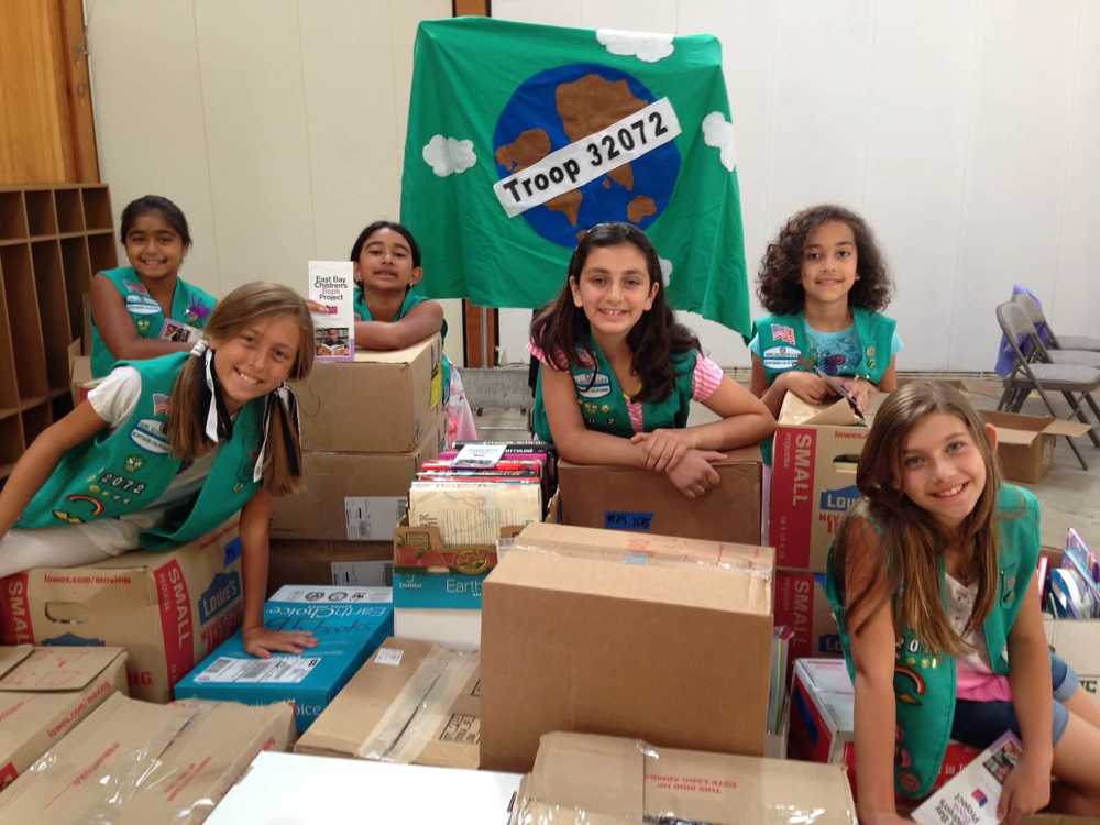 a girl scout book drive
